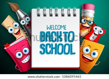 Back to school vector characters background template with white empty space for educational text and colorful funny school cartoon mascots. Vector illustration.