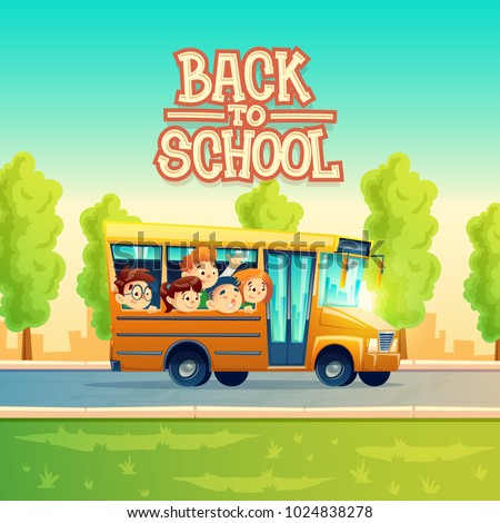 Back to school vector concept illustration with cheerful smiling kids, happy pupils, riding on yellow bus. Colorful background, poster with group of boys and girls go on excursion or trip