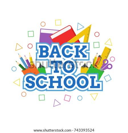 Back To School Vector Design and School Element Icon Vector #743393524
