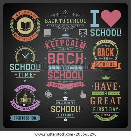 Back to school vector design elements collection Typographic elements vintage labels frames ribbons cards sale object and icons set Flourishes and calligraphic retro ornaments