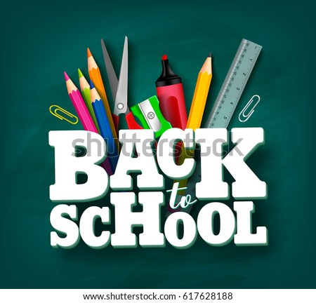 Back to school vector design with 3d title and school items and elements in green chalkboard background. Vector illustration.
