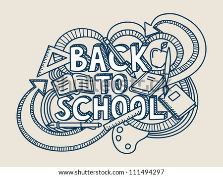 Back to school vector doodle.