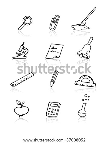 Back to school vector elements icon set. Doodle style