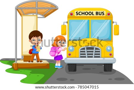 Back to school. Vector illustration of cartoon kids going to school with school bus