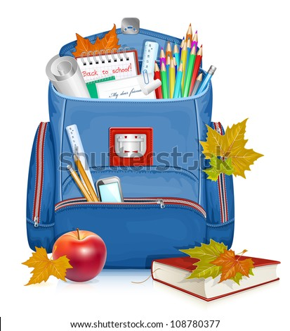 Back to school! Vector illustration of school bag with education objects