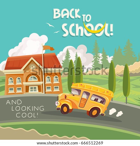 Back to school vector illustration with yellow school bus and school building in colorful vintage design