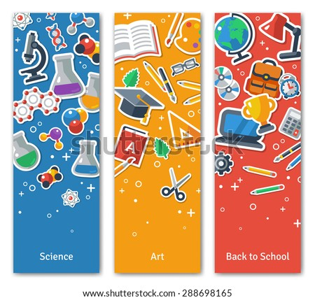 Back To School Vertical BannersSet With Flat Sticker Icons. Vector Flat Illustration. Arts and Science Stickers. Education Concept. Back to school. Concepts for web banners and promotional materials. - stock vector