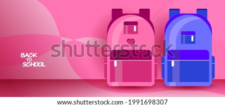Back to school web banner, background or wallpaper. Two school bags for a boy and a girl. Colorful kid backpack illustration. Vector EPS 10