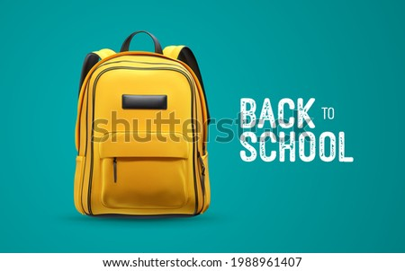 Back to school white vintage sign with yellow school bag isolated on blue background. Vector 3d illustration with orange backpack. Educational banner design Foto stock ©