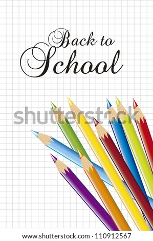 back to school with colored school over paper notebook. vector