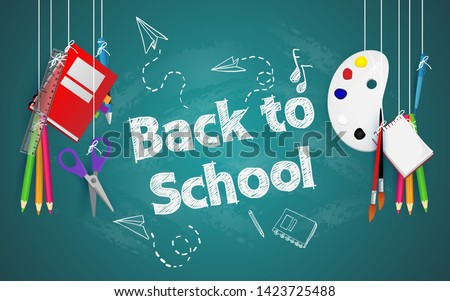 Back to school with school items and elements. vector banner design.