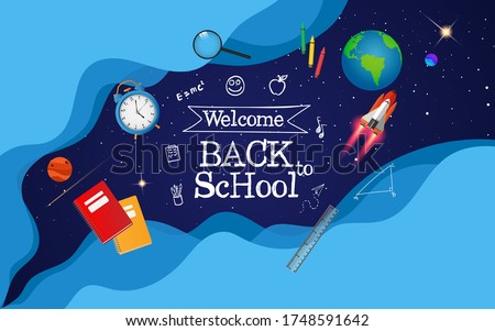back to school with space imagination and school items.