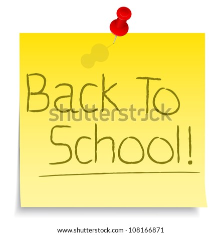 Back to school words on yellow sticky note, vector eps10 illustration