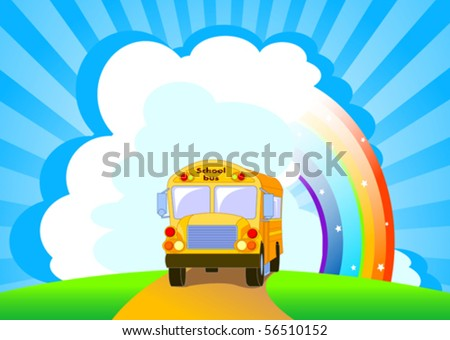 stock-vector-back-to-school-yellow-school-bus-background