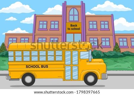 Back to school. Yellow school bus near the school building. Vector illustration in cartoon style, horizontal banner