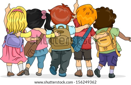 Back View Illustration of a Group of Kids Looking Upwards