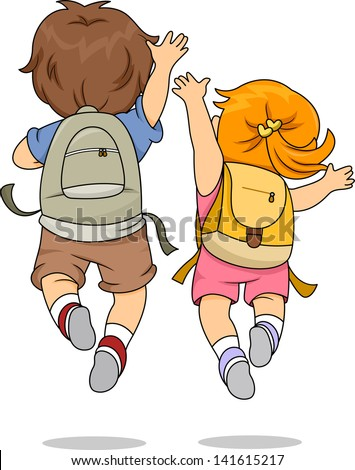 Back View Illustration of Little Male and Female Kids wearing Backpacks Jumping Merrily
