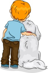 Back View of a Boy with His Arm Resting on His Dog's Neck
