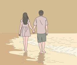 Back view of a couple holding hands and walking down the beach. hand drawn style vector design illustrations.