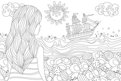 back view of a cute girl with wavy hair in stripe dress looking at seascape for your coloring book
