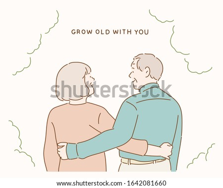 Back view of beautiful senior couple hugging and looking outdoors. Hand drawn style vector design illustrations.