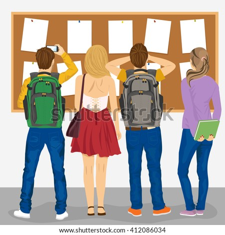 back view of college students