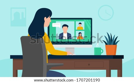 Back view of female employee speak talk on video call with diverse multiracial colleagues on online briefing, woman worker have Webcam group conference with coworkers at home, vector illustration