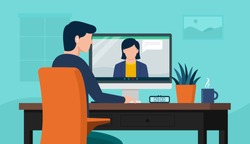 Back view of male employe interview  talk on video call, vector illustration