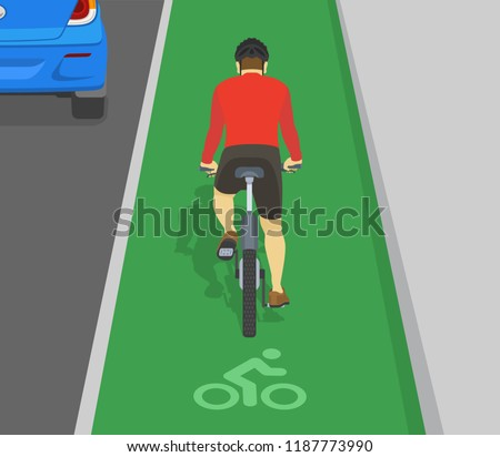 Back view of man cycling on bike path. Bicycle sign and bike rider. Flat vector illustration.