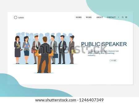 Back View of Public Speaker at Grandstand. Orator Speaking from Tribune.  Crowd Silhouette Background. Vector illustration in trendy flat style can be used in the head of the web site, banner