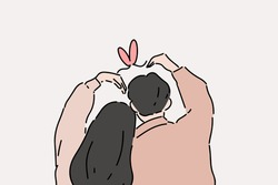 Back view of the young couple posing the love sign. Simple outlined hand-drawn style vector illustration of romantic couple in love