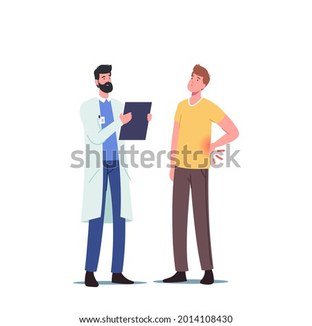Backache Sickness. Diseased Patient Male Character at Doctor Appointment with Back Pain, Muscular Inflammation or Injury. Health Care, Medicine and Hospital Visit. Cartoon People Vector Illustration Сток-фото ©