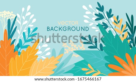 Backdrop for posters, banners, greeting cards and placards - vector illustration in simple flat style with space for text - background with leaves and plants