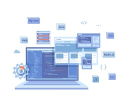 Backend Development, Coding, Software  Engineering, Programming languages. Program code on laptop screen, website template. Technology concept. Vector illustration on white background