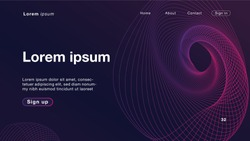 Background abstract dynamic linear waves purple light for Homepage. Vector Illustration EPS10.