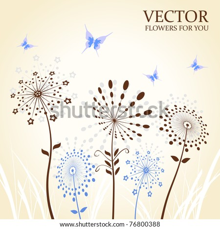 Background abstract flowers silhouette butterfly. Vector illustration