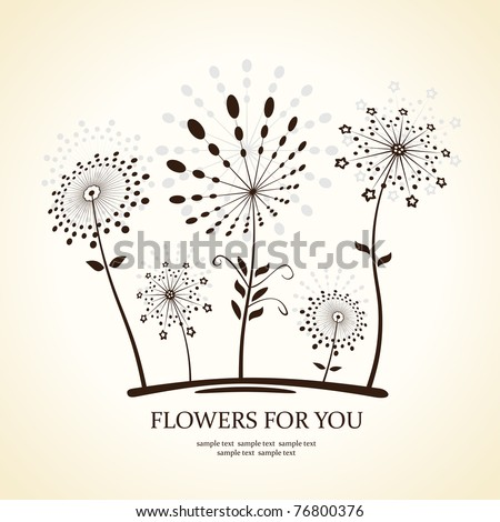 Background abstract flowers silhouette dandelion. Vector illustration