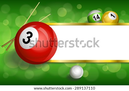 Stock Photo Background abstract green billiards pool cue red ball frame stripes gold illustration vector