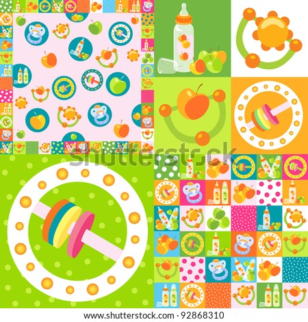 background baby bottles and rattles - stock vector