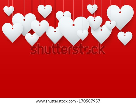 Background beautiful red heart on white paper. Vector illustration. Love or medicine theme. Editable and isolated.