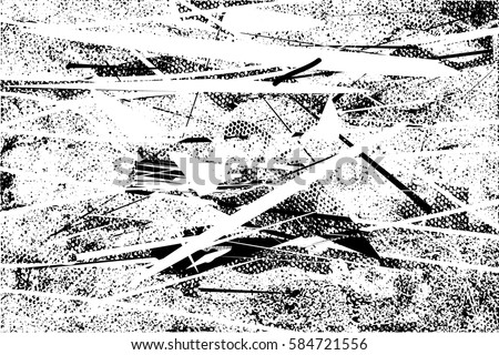 Background black and white abstract texture vector with  dark spots, pale nets, lines and drawing