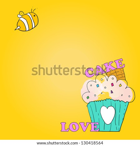 background cake and bee vector