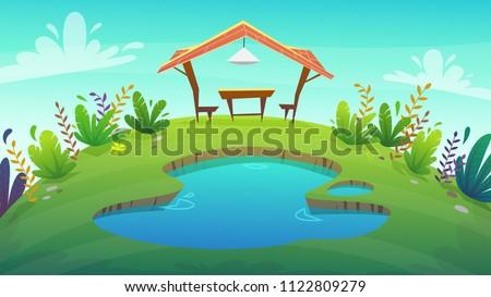 background cartoon camping