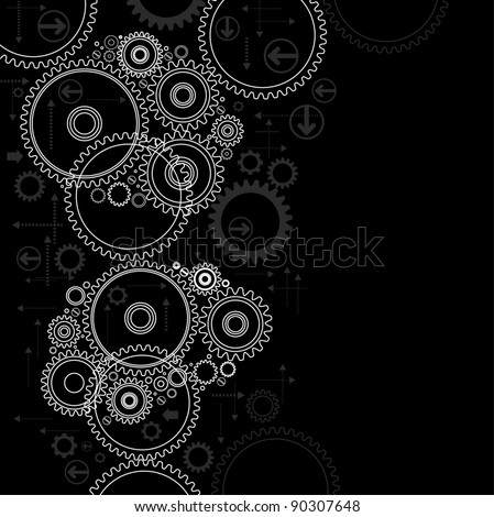background consisting of bright gears and arrows.the concept of motion
