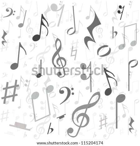 Background created from music notes, illustration