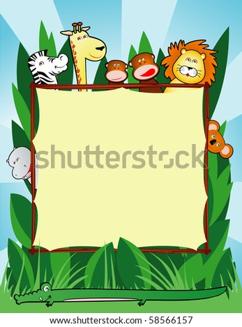 Background customizable with funny smiling jungle animals, vector