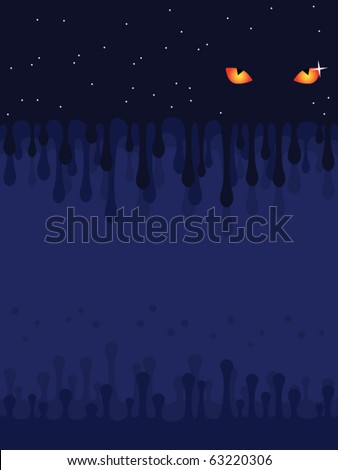 Background. Darkness. Mysterious eyes. The star sky.
