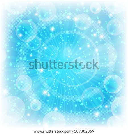 Background design, abstract bright blue magic backdrop. Vector eps10, contains transparencies.