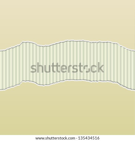 Background design with beige paper torn to reveal a stripes pattern behind.