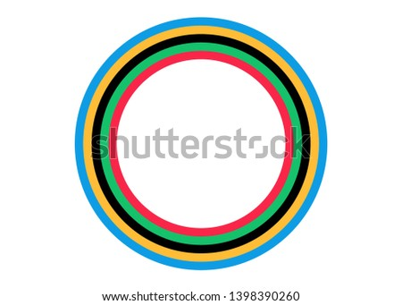 Background design with olympic color stripes concept in paper style. Vector illustration isolated or white background. Suitable for book, poster, cover, vector template colored circular striped